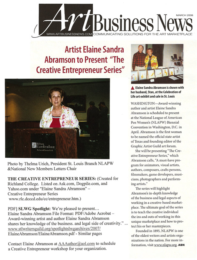 "Artist Elaine Sandra Abramson to Present ""The Creative Entrepreneur Series"" - March 2008 Art Business News - Creative Solutions for the Art Marketplace"