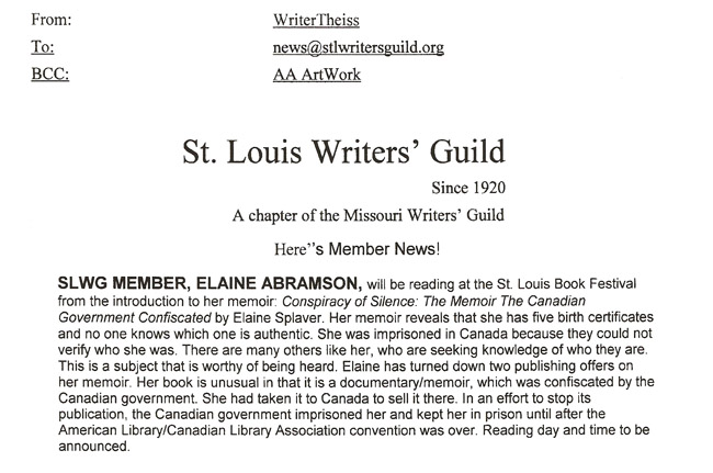 St. Louis Writers' Guild - Member News - SLWG member Elaine Abramson to read from her memoir: Conspiracy of Silence: The Memoir of the Canadian Government Confiscated by Elaine Splaver